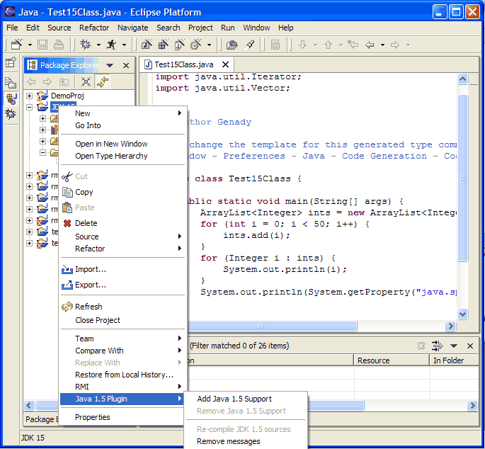 That is, you cannot have JDK1.5 overlap regular source folders,